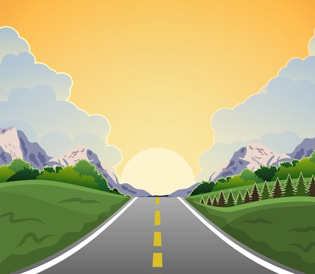 Passeio na rodovia com bela paisagem ao nascer do sol