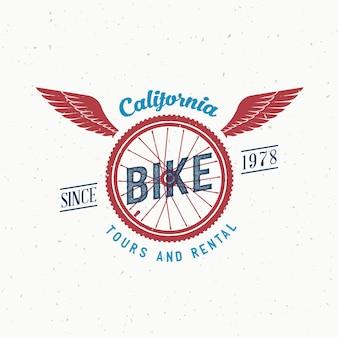 Passeios de bicicleta retrô e etiqueta de aluguel ou design de logotipo