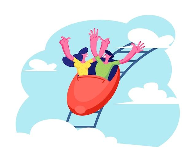 Passeios de montanha-russa de pessoas. homem e menina cavalgando rápido nas montanhas russas, ilustração plana dos desenhos animados