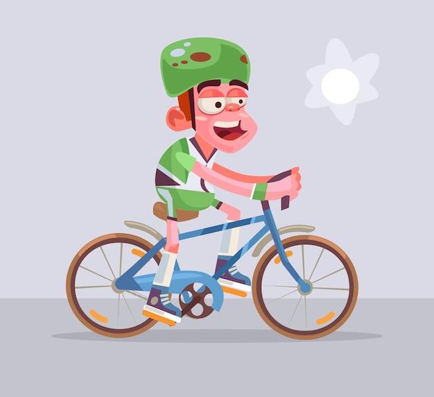 Passeios de personagem de homem ciclista.