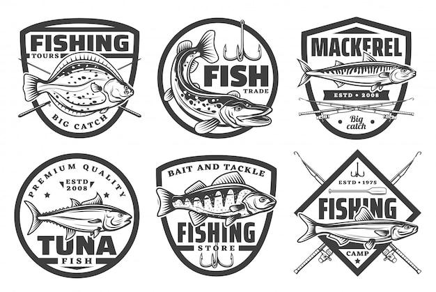 Passeios de pesca, emblemas de clube de esporte de acampamento de pescador