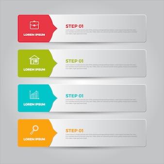 Passo 4, info-graphic, vetorial, bandeira, modelo, ilustração