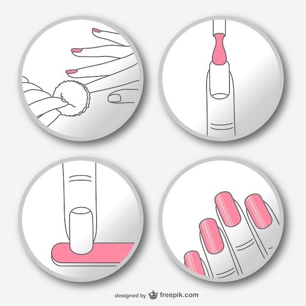 Passo a passo manicure vector