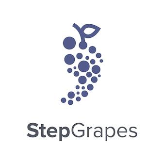 Passo de pé com bolha de ponto de uva e deixa um vetor de design de logotipo simples e moderno