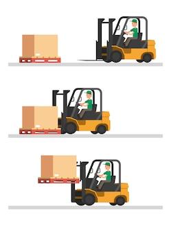 Passo de transporte de empilhadeira em armazém