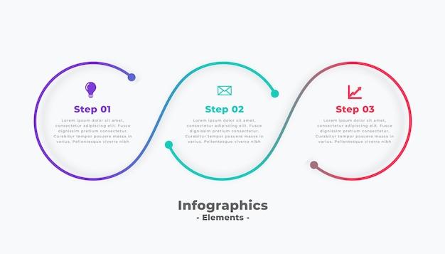 Passo moderno circular conectando modelo de infográfico
