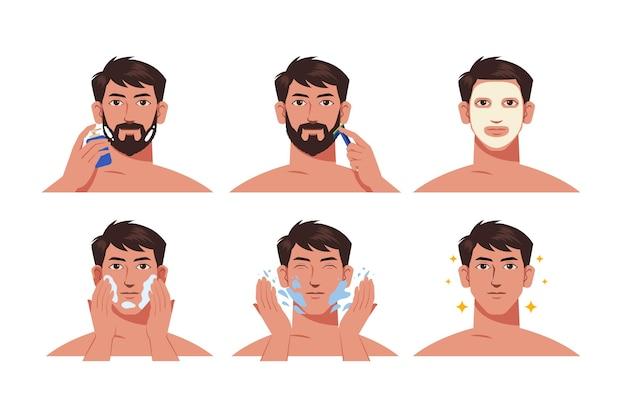 Passos da coleta de rotina de cuidados com a pele masculina