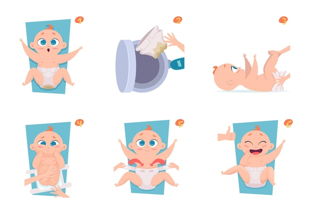 Passos de troca de fraldas. médicos de saúde anunciam fotos para pais de cuidados com bebês