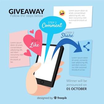 Passos do concurso de mídia social com design plano