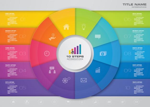Passos infográficos elemento modelo gráfico para apresentação.