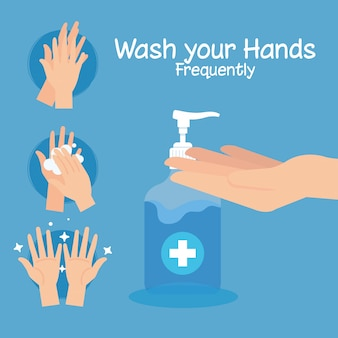 Passos para lavar as mãos com frequência, pandemia de coronavírus, auto-proteção contra a covid 19, lavar as mãos para evitar 2019 ncov