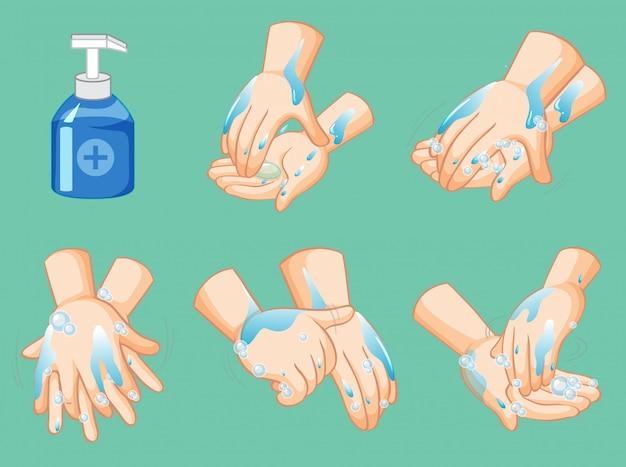 Passos para limpar as mãos