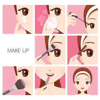 Passos para maquiagem para mulher