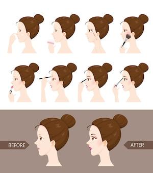 Passos para maquilhagem de mulher vista lateral