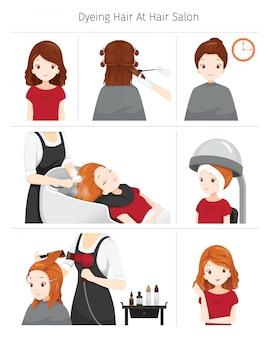 Passos para tingir o cabelo da mulher no salão de cabeleireiro