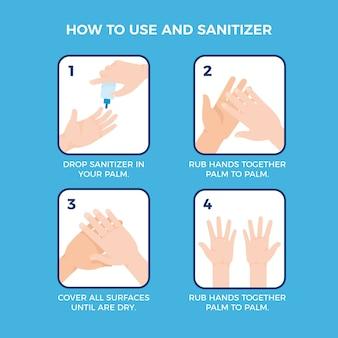 Passos para usar o desinfetante para as mãos para prevenir doenças e higiene