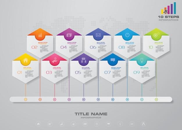 Passos timeline infográfico gráfico de elementos.