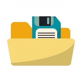 Pasta com disquete salvar símbolo