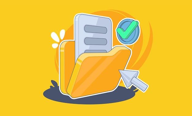 Pasta com documentos em ilustração de fundo amarelo em estilo cartoon