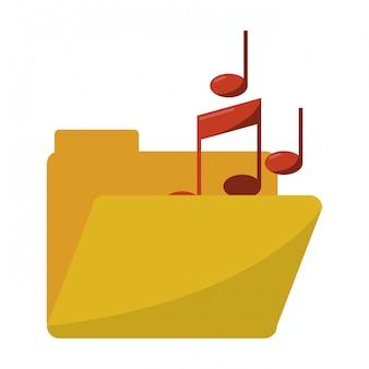 Pasta com símbolo de notas de música