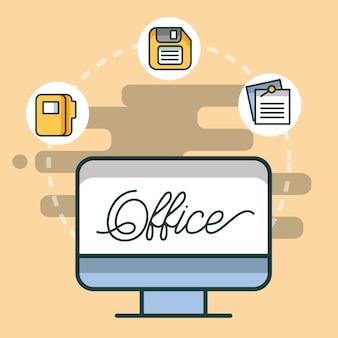 Pasta de computador disquete e papel office