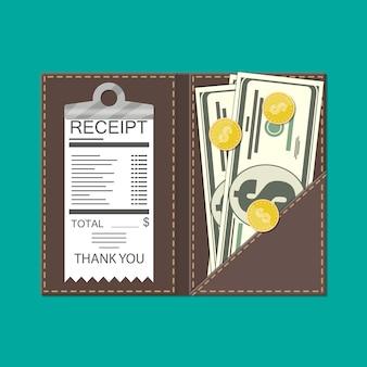 Pasta de couro com dinheiro, moedas e cheque administrativo.