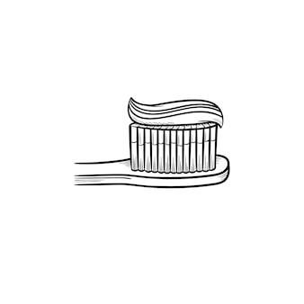 Pasta de dente em um ícone de doodle de contorno desenhado de mão de escova de dentes. higiene, conceito médico de proteção de cavidade