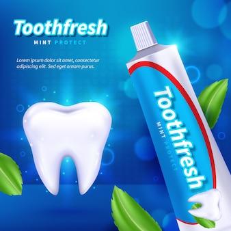 Pasta de dente realista para cuidados dentários