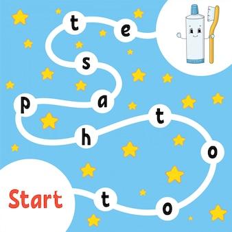 Pasta de dentes. jogo de lógica. aprendendo palavras para crianças. encontre o nome oculto.