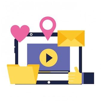 Pasta de e-mail de vídeo portátil amor localização mídia social