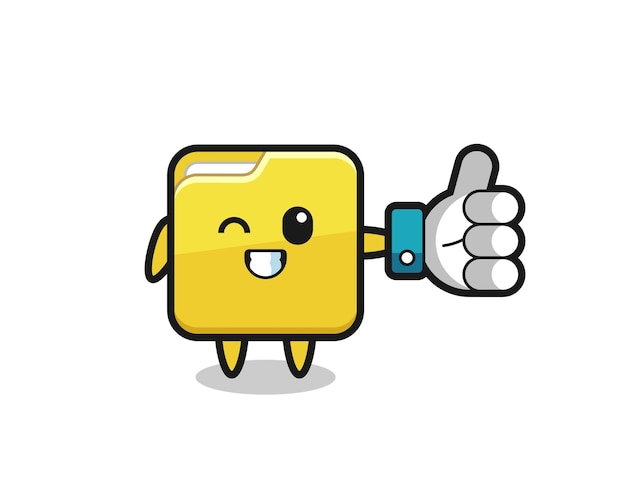 Pasta fofa com símbolo de polegar para cima de mídia social, design de estilo fofo para camiseta, adesivo, elemento de logotipo