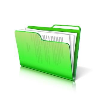 Pasta transparente verde com papéis. ícone de documento. ilustração.