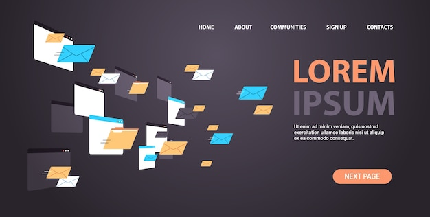 Pastas correio envelopes nuvem internet dados arquivo ícone documentos janela do navegador cópia horizontal espaço ilustração vetorial