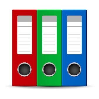 Pastas de escritório em três cores