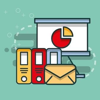 Pastas de gráfico de placa de negócios e escritório de correio