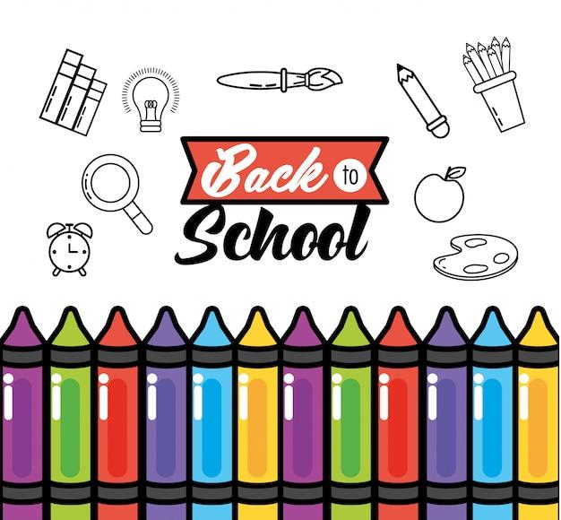 Pastéis de educação com suprimentos de cores de lápis