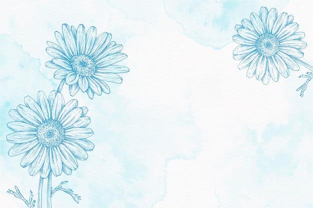 Pastel azul em pó mão desenhado fundo