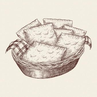Pastel de comida brasileira desenhada à mão