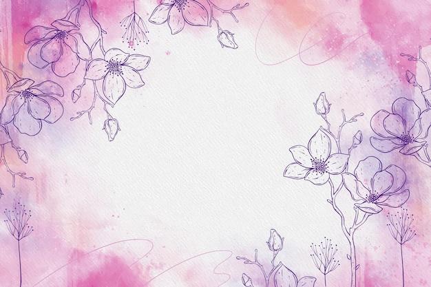 Pastel de pó-de-rosa com elementos de mão desenhada