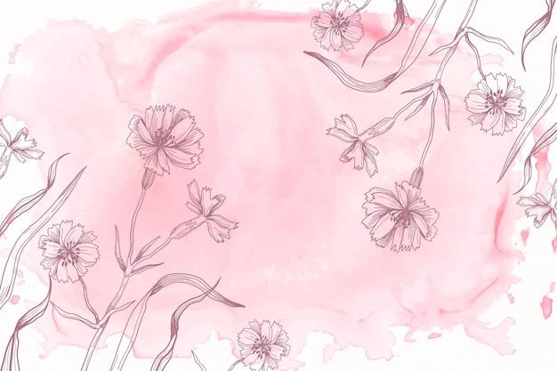 Pastel de pó-de-rosa com fundo de flores de mão desenhada