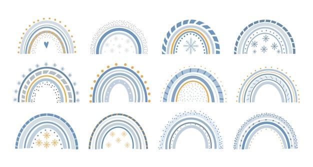 Pastel de vetor bonito natal arco-íris definido em cartaz para impressão de fundo branco para crianças.