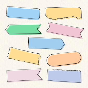 Pastel de vetor de fita washi definido em estilo desenhado à mão