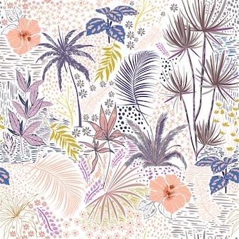 Pastel doce mão sketch sem costura tropical verão