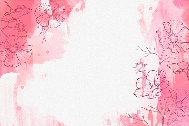 Pastel em pó bonito com mão desenhada plantas papel de parede