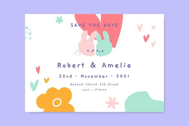 Pastel fofo convite de casamento para salvar a data
