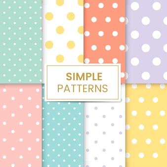 Pastel polka dot padrão sem emenda vector set