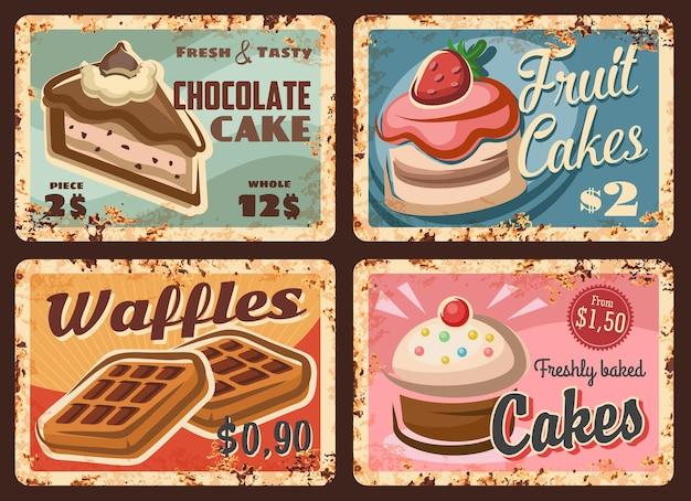 Pastelaria, confeitaria, doces, pratos enferrujados