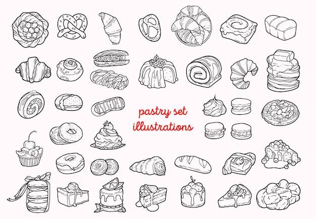 Pastelaria conjunto de ilustrações