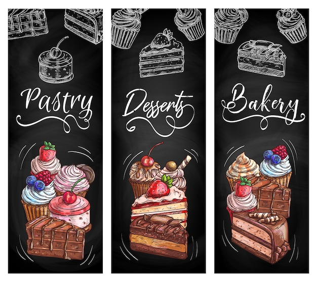 Pastelaria, pastelaria, sobremesas, quadro de giz, banners