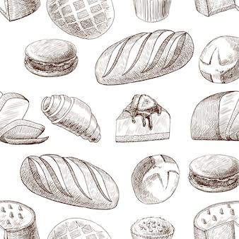 Pastelaria sem costura padrão vintage desenho estilo